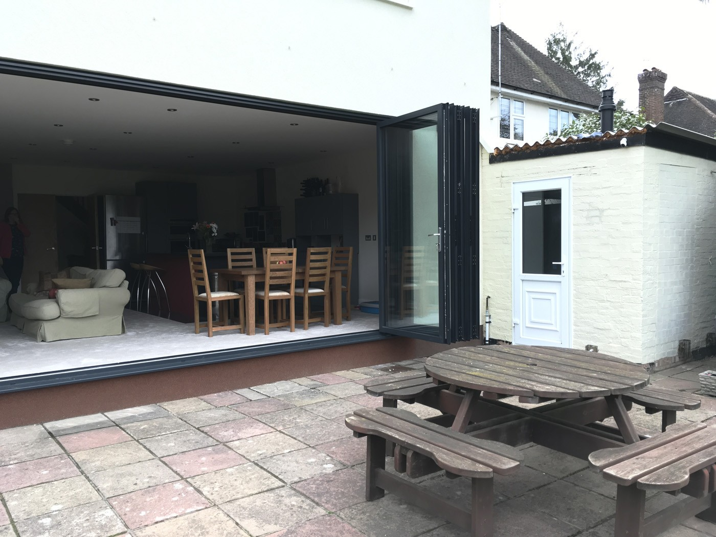 Smart System bifold doors installed in Claygate from Hamilton Windows