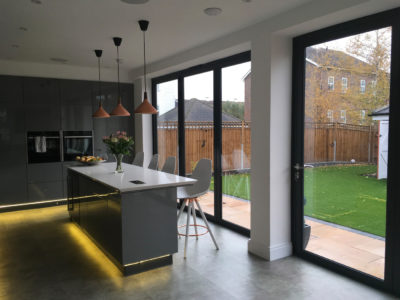 Hamilton Windows Origin bifold doors installed in Worcester Park